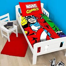 MARVEL AVENGERS COMICS CLASH DUVET COVER BEDDING SET FOR JUNIOR TODDLER COT BED