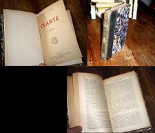 clarté 1919 Henri Barbusse relié roman 1ère Guerre Mondiale 1914-1918