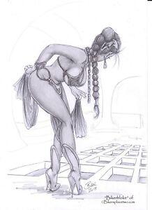 Leia & Rancor - Original Pin-up Artwork by Biker (aka Bikerbloke)