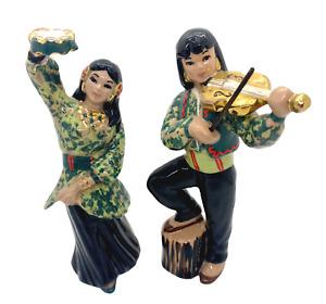 Ceramic Arts Studio Madison Pair of Gypsy Musician Figurines
