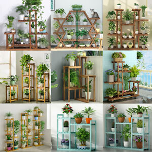 Various Wood Bamboo Plant Stand Great Flower Plants Collection Display Shelves
