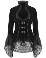 Dark In Love Womens Gothic Jacket Black Velvet Lace Steampunk Victorian Tailcoat
