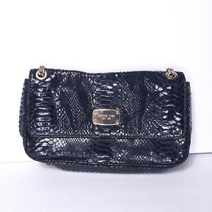 Michael Kors Small Snake Black Chain Leather Party Clutch Shoulder Purse Handbag
