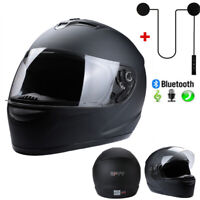 New DOT Motorcycle Helmet Full Face Matte Black S/M/L/XL w/ Headset