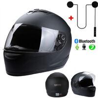 New DOT Motorcycle Helmet Full Face Matte Black S/M/L/XL w/ Headset