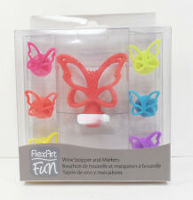 7 Piece Silicone Butterfly Wine Stopper and Wine Glass Markers Set
