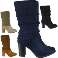 New Womens Ladies Faux Suede Zip Mid Calf Sock Detail High Heel Boots Shoes Size