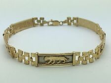 "New Unisex Solid 10K Yellow Gold Panther Watch Link 8"" Bracelet 12.3 grams,8.1mm"