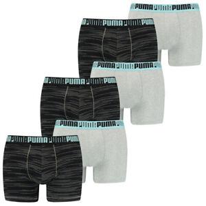Puma Herren Boxershort 6er Pack S M L XL Gestreift Uni Schwarz Grau 95%Baumwolle