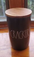 "Rae Dunn ""Crackers "" Ceramic Cellar With Wooden Lid. Black"