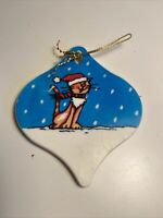 Vintage 1982 Hallmark Cat Kitten Meowy Christmas Tree Ornament Snow HMK CDS