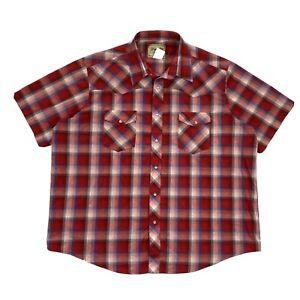 Vintage Wrangler Western Shirts Plaid Pearl Snap Short Sleeve Red XXL