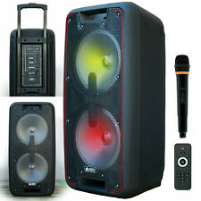 "3000W Dual 10"" Rechargable  Powered Speaker DJ PA karaoke System Bluetooth w/LED"