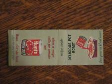 *** 1963 Hunt's Delicious Pot Roast Recipe Matchbook Cover / Fun for a cook!