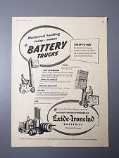 R&L Ex-Mag Advertisement: Fork Lift Truck Exide Ironclad Batteries