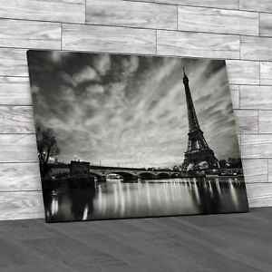 Sunrise At The Eiffel Tower Paris Black White Canvas Print Large Picture Wall