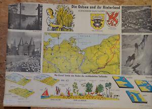 Schulwandkarte Wall Map Ostsee Pommern Mecklenburg Kornkammer ca100x65cm ~ 1960