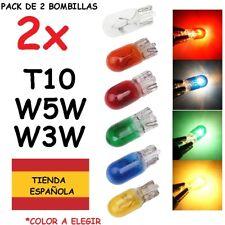 2x Bombilla T10 W5W Halógena de Cuña w3w Color Amarillo Rojo Verde Azul Naranja