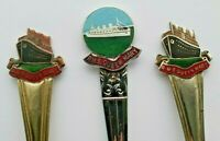 3 x Cunard Line RMS Queen Mary Bought Onboard Souvenir Enamel Spoons - 1930's