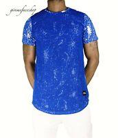 Time is Money mesh splatter star club t shirt, rap hip hop g pu mens tees blue