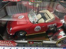 new Bburago  1/18 1961 PORSCHE 356 B CABRIOLET #126 Made Italy 1000 MIGLIA