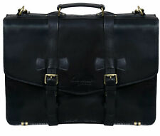 "Men's black Leather Shoulder Bag Messenger Briefcase 17"" Laptop Business Satchel"