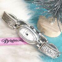 Brighton Biella Fiore Women's Watch Silver Plate Etched  Link Bracelet Band