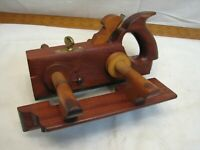 Antique Mahogany Screw Arm Plow Plane Woodworking Wood Tool Signed