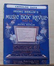Crinoline Days - 1922 sheet music - by Irving Berlin - from 2nd Music Box Revue
