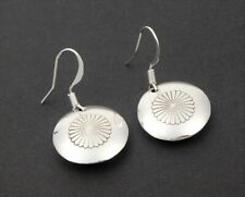 Native American Polished Stamp Sterling Silver Small Round Concho Drop Earrings