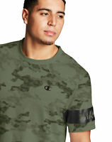 Champion Mens Tee T-Shirt Camo Mesh Block Logo Sleeve Modern Fit Soft Double Dry
