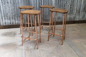 COPPER PIPEWORK BASED BAR STOOLS WITH SHAPED SOLID OAK TOP 76CM HEIGHT