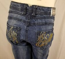 Apple Bottoms Womens Jeans 7 / 8 Embellished Bling Distressed Straight Leg
