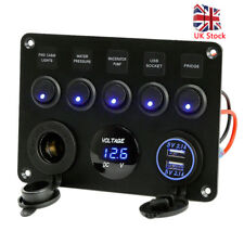 5Gang Car Boat Dash Control LED Switch Panel 12V USB Inline Fuse Circuit Breaker