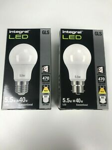 Integral LED 5.5w 8.6w E27 B22 Warm 2700K GLS Lamps / Bulbs ****Free P&P****