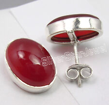 925 Pure Silver RED FIRE CARNELIAN BIG WELL MADE STUDS Earrings 1.5 CM NEW ITEM