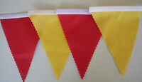 FOOTBALL BUNTING RED & YELLOW FABRIC FLAGS SPAIN PARTY DECORATION 2mt OR MORE