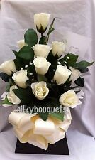 Artificial Silk Flowers Dozen White Rose Gift Bouquet Box Delivered Valentines