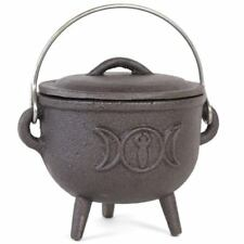 SMALL Cast Iron Cauldron Pot Witches Wicca Pagan Gothic TRIPLE MOON Crescent