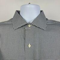 Brooks Brothers Slim Fit Non Iron Black Check Mens Dress Button Shirt 16 2/3
