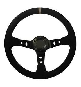 Drifting Steering Wheel Black Suede Grey Tab Rally 350mm Deep Dish Drifter Oval