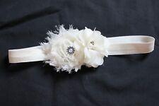 Baby Toddler Girl Ivory Flower Headband Head Wrap Photo Prop