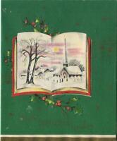 VINTAGE CHRISTMAS CHURCH DIE CUT BOOK POP UP MUSIC NOTES GREEN GREETING ART CARD
