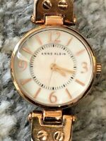 Retro Stunning Designer Anne Klein Ladies Glitter Accented Leather Strap Watch