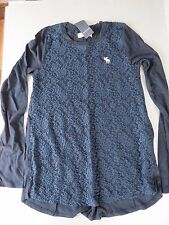 NWT girls Abercrombie & Fitch Kids Long Sleeve Top - Navy Age 9/10