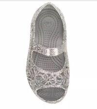 5d91957638d5f Crocs Isabella Glitter Flat Silver Kids Girls Flats Size 10m