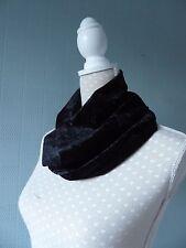 Black crushed velvet snood, black velour cowl scarf, black velour loop scarf
