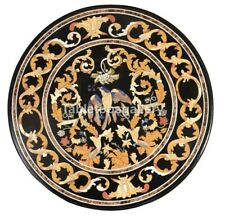 "32"" Marble Top Coffee Table Marquetry Bird Inlay Stone Dining Room Decorate B222"