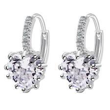 1Pair Girl Charm Crystal Rhinestone Silver Plated Ear Stud Hoop Jewelry Earrings