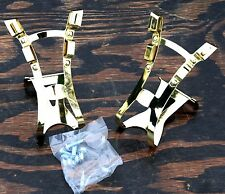 Gold Double Strap Pedals TOE CLIPS Fixie RoadBike Fixed Gear Track Bicycle Cages